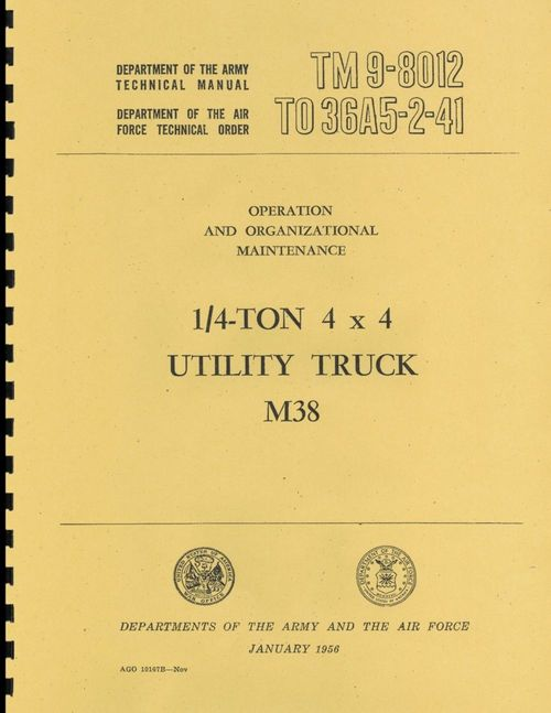 Product picture M38 1/4 Ton  4x4 Utility Truck, Maintenance  Manual